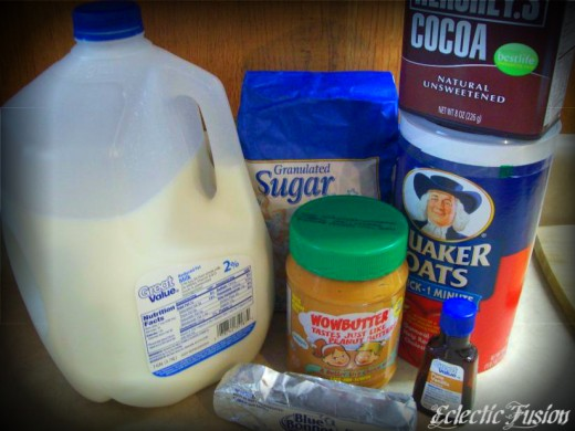 The recipe calls for peanut butter, but I use soy butter because I'm allergic to peanuts. Wowbutter is awesome!