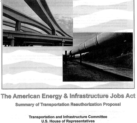 "Cover to HR 7 plan shows GOP's ""vision"" for future transportation — highways (left) and pipelines (right)."