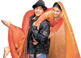 The Indian Blockbuster film Dilwale Dulhania Le Jayenge (1995) starring Shahrukh Khan and Kajol.