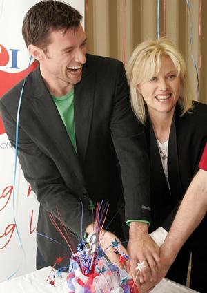 Hugh Jackman with his wife.