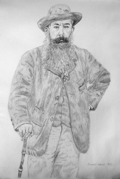 My own pencil sketch of Claude Monet aged 50 years