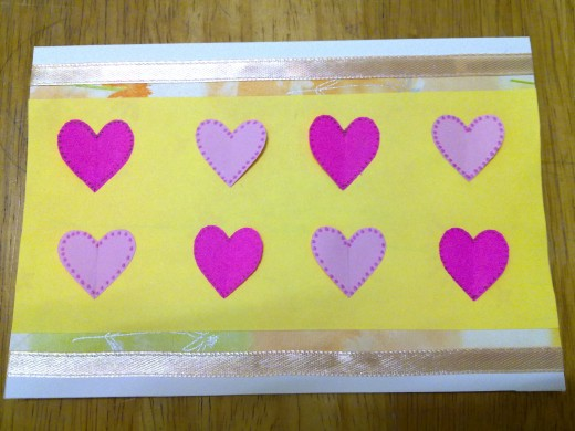dots on hearts , paste ribbon
