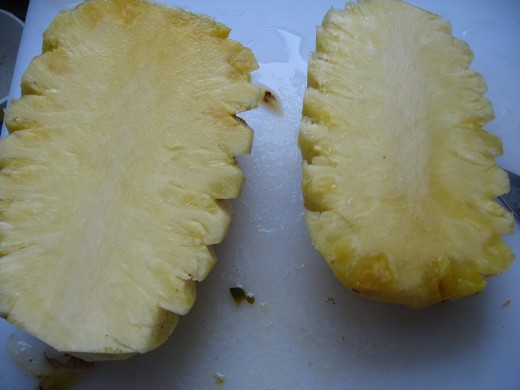 Pineapple halves.