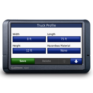 Truck dimensions data input screen
