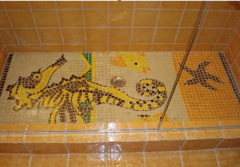 finished project I did for a client, glass mosaic tile