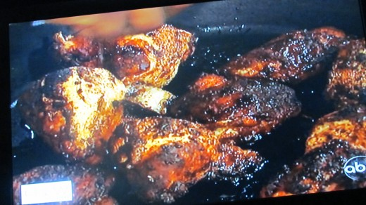 The blackened chicken prepared by Boyz II Men, along with co-host Carla Hall.