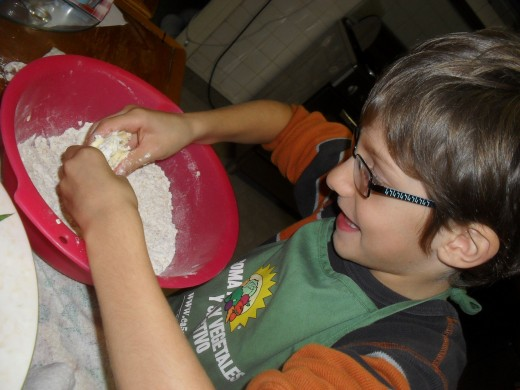Making the dough for a quiche