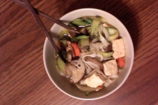 Tofu, Veggie & Rice Noodle Soup