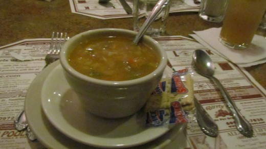 Chicken and okra soup which was delicious and only $3.99 per cup.