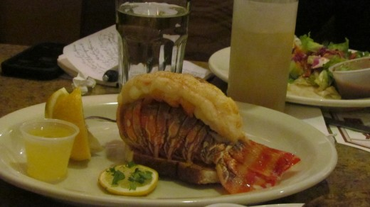 For a side dish with my meal, I received the broiled lobster tail for $9.99 with any meal.