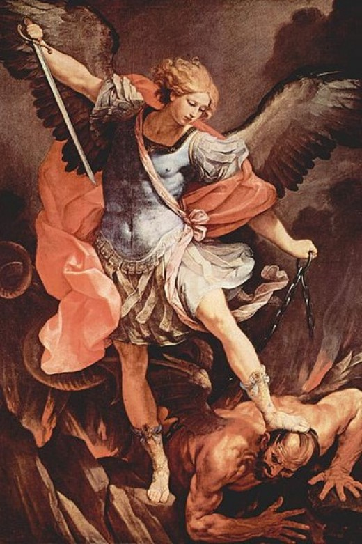 Its tough to see by looking at this image who's the victim, who's good, and who's bad, but by depicting the angelic wings one may begin to think otherwise, and the evil looking reptile like wing of the man possibly a demon or the Devil himself