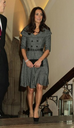Her first solo official engagement at the National Portrait Gallery has Kate wearing a coatdress from Jezire, a fashion house that already closed.