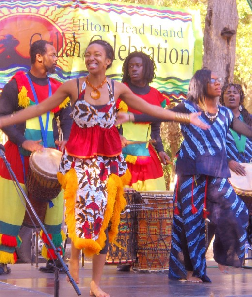 "Gullah dancers and musicians performing at  ""A Taste of Gullah Food & Entertainment"" festival at the Coastal Arts Center in Hilton Head Island, February 11, 2012."
