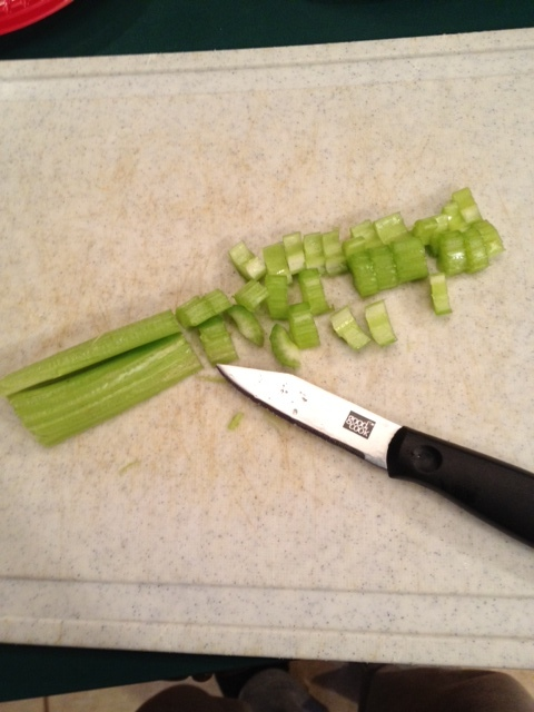 cut the celery into small pieces as well.