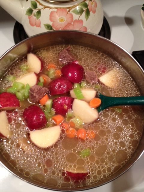 Add all the ingredients: carrots, celery, potatoes, and onions into pot, add water and let simmer for an 30-45 mins or till potatoes are soft