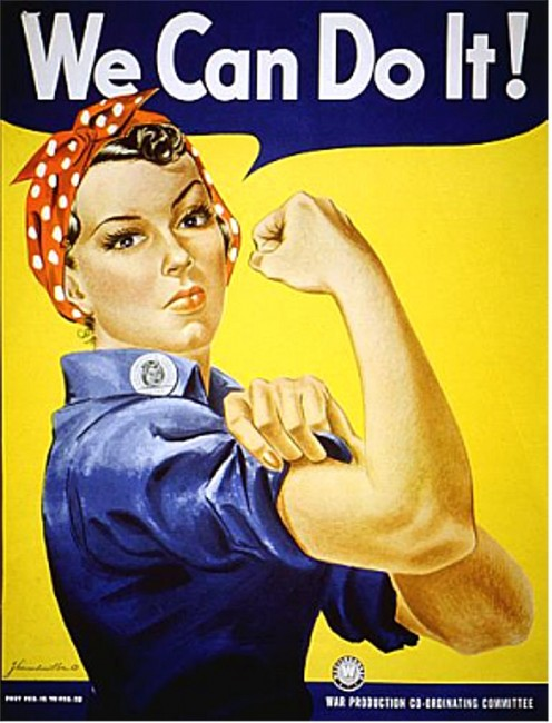 This iconic Rosie the Riviter poster celebrated the role of women working for the War Effort during World War II while American men were off to fight against Germany and Japan.