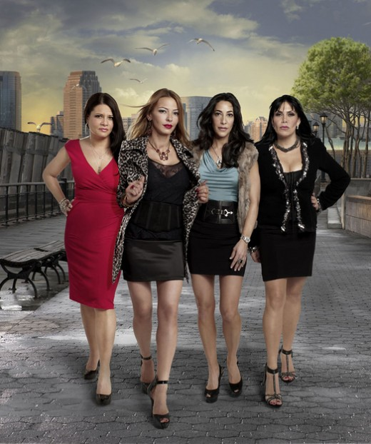"The female cast of ""Mob Wives"" pose for the camera."