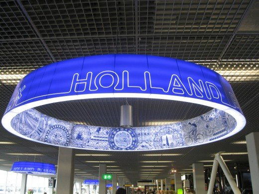 Amsterdam Airport Schiphol - inside view of Holland Boulevard ceiling decoration.
