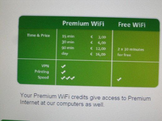 Amsterdam Airport Schiphol - WiFi Rates