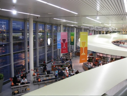 Amsterdam Airport Schiphol - Looking down at snack and beverage barsbelow area where we slept
