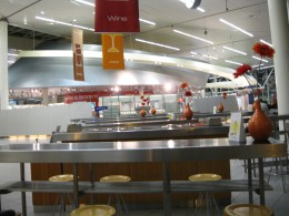 Amsterdam Airport Schiphol - Some of the snack and beverage bars Downstairs below where we slept.