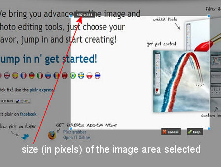 """The """"bright"""" area is the image area selected to copy"""