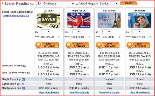 Cloncom.com's Rates To Call From United States To United Kingdom