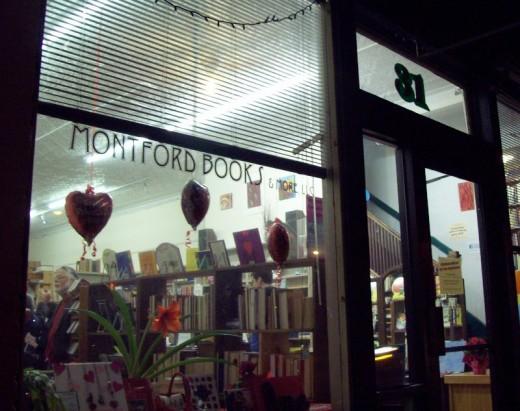 Outside of Montford Books, Friday February 10, 2012.  Jocelyn Reese's Art Opening was in progress.