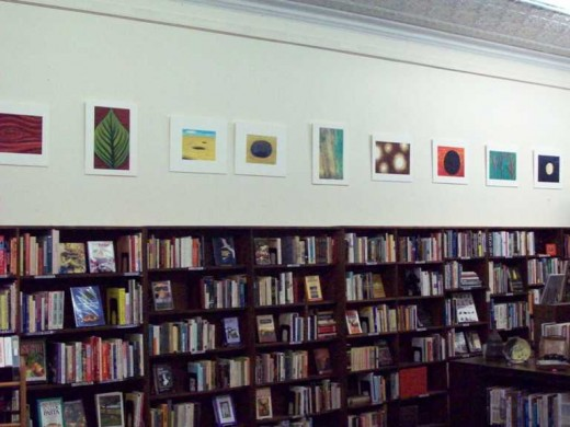 Montford Books with Jocelyn Reese's work on the walls.