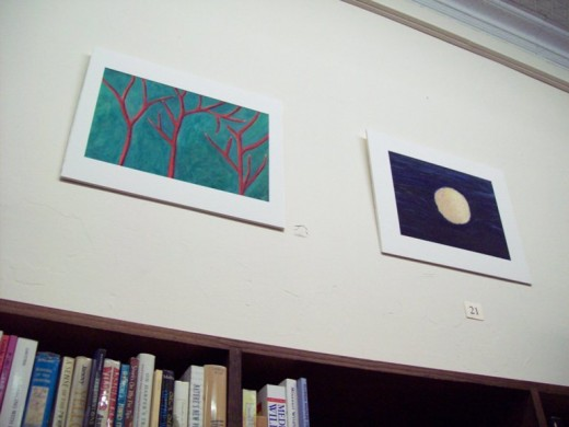 "Reese: ""Red Trees"" and ""Black Hole: Winter"" - oil on paper, 2011"