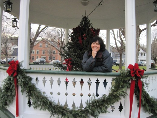 The author at Christmas in the gazebo at the town green in Weston, Vermont.