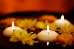 Scented candles and flowers for the dining table, bathroom & bedroom