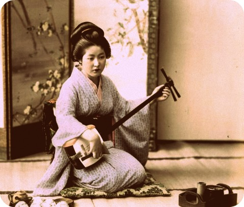 Shamisens are traditionally played by geishas