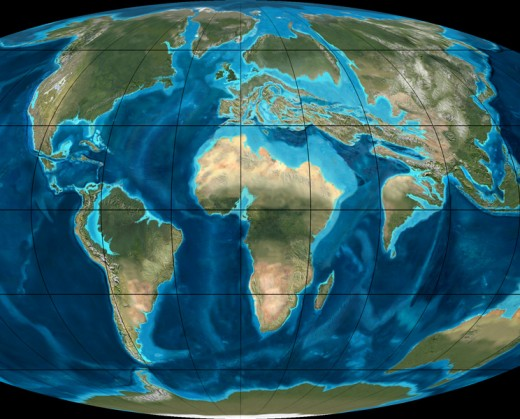 Paleogeographic reconstruction of the Earth in the Eocene period 50 million years ago.