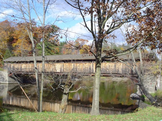 Covered bridge from Rt. 32 side - in the fall