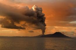 Tavurvur in Papua New Guinea erupting.