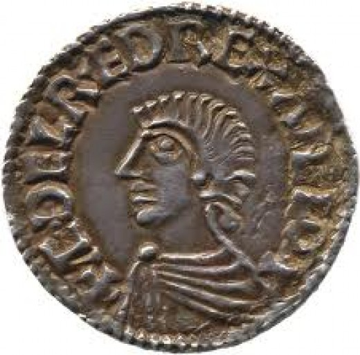 Coin of Aethelred II 'Unraed' in the style of a Roman emperor copied from earlier kings