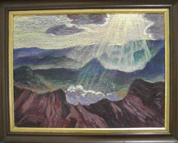 """Rays of Sunshine between the Mountains or Aerial Landscape"" by Mexican painter Gerardo Murillo, Dr. Atl (1950). Museo Soumaya, Mexico City."