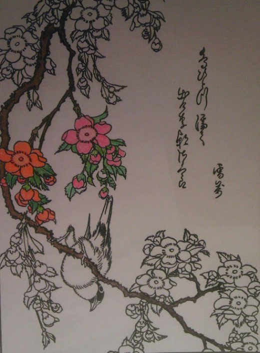 Weeping cherry tree in colored pencil