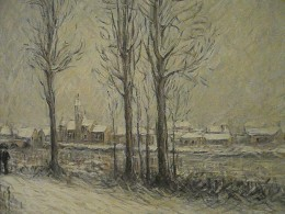 """View of Moret-sur-Loing Under the Snow"" by Gustave Loiseau (c1900). Sample of Divisionism Technique, Museo Soumaya, founded by the richest man in the world, Carlos Slim Helu. Mexico City."