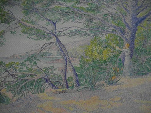 """Under the Pines at Carqueiranne"" by Louis Gaidan (end of XIX – beginning of XX). Sample of Pointillism, Museo Soumaya, founded by the richest man in the world, Carlos Slim Helu. Mexico City."