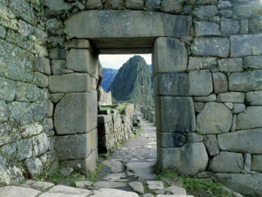 Stone Doorway of the Inca Ruins of Machu Picchu