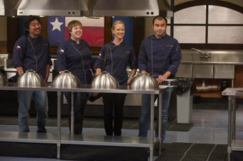 Ed, Sarah, Lindsay and Paul await the Last Chance Kitchen Champion