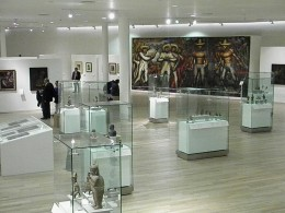 """Mural Painting by Mexican Artist David Alfaro Siqueiros, """"The Land, Like the Water and The Industry, Belong to Us"""". Museo Soumaya founded by Carlos Slim Helu. Mexico City."""
