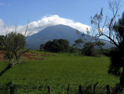 A view from Guanacaste National Park, with Volcano Rincon de la Vieja in the background.