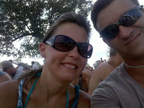 My husband and I celebrating our wedding anniversary at Bonnaroo!