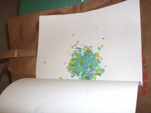 White paper with crayons