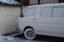 Van covered with ice, Versoix Lake Prominade, Lake Geneva, Switzerland