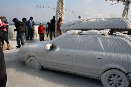 Auto Covered With Ice, Versoix Lake Prominade, Lake Geneva, Switzerland