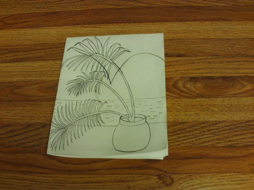 I sketched a palm tree scene.